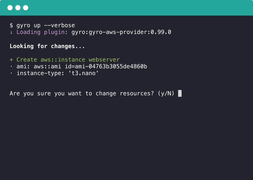 Example output from running gyro up [article-image]